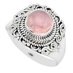 925 silver 3.36cts solitaire natural pink rose quartz round ring size 7 r96333