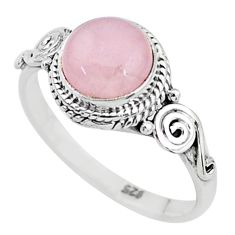 925 silver 2.93cts solitaire natural pink rose quartz round ring size 9 t6034