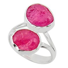 925 silver 12.36cts solitaire natural pink ruby rough fancy ring size 8 r49173