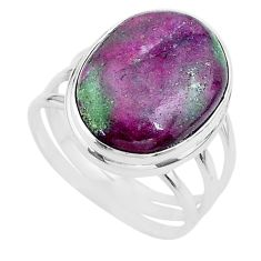 925 silver 20.37cts solitaire natural pink ruby zoisite oval ring size 11 t17815