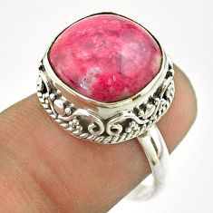 925 silver 7.24cts solitaire natural pink thulite cushion ring size 7 t55873