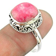 925 silver 6.78cts solitaire natural pink thulite cushion ring size 8 t55864
