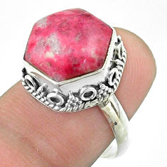 925 silver 6.49cts solitaire natural pink thulite hexagon ring size 7.5 t55910