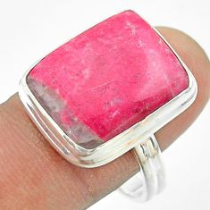 925 silver 15.85cts solitaire natural pink thulite octagan ring size 10 t54107