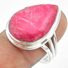 925 silver 17.69cts solitaire natural pink thulite pear ring size 9.5 t54114
