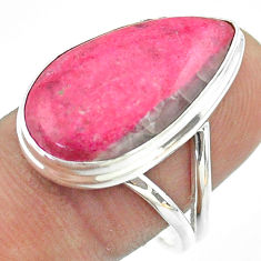 925 silver 15.34cts solitaire natural pink thulite pear shape ring size 9 t54112