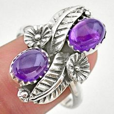 925 silver 4.38cts solitaire natural purple amethyst flower ring size 9 t25263