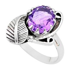 925 silver 3.02cts solitaire natural purple amethyst leaf ring size 8 t6384