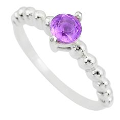 925 silver 0.99cts solitaire natural purple amethyst round ring size 8 r87204