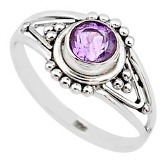 0.74cts natural cut amethyst round graduation handmade ring size 6.5 t9355