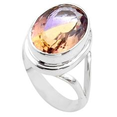 925 silver 9.44cts solitaire natural purple ametrine oval ring size 7.5 t45086