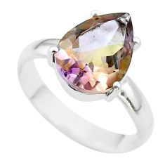925 silver 6.54cts solitaire natural purple ametrine pear ring size 10 t50248