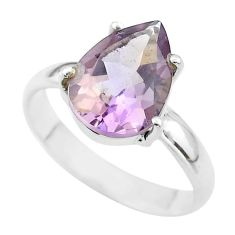 925 silver 6.55cts solitaire natural purple ametrine pear ring size 11 t50277