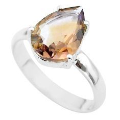 925 silver 6.57cts solitaire natural purple ametrine pear ring size 11 t50280