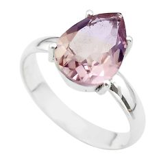 925 silver 6.47cts solitaire natural purple ametrine pear ring size 11 t50296