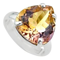 925 silver 8.24cts solitaire natural purple ametrine pear ring size 6 t24224