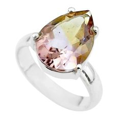 925 silver 6.03cts solitaire natural purple ametrine pear ring size 6 t50235