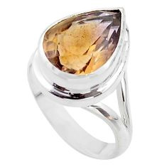 925 silver 10.54cts solitaire natural purple ametrine pear ring size 9 t45103