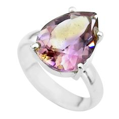 925 silver 6.38cts solitaire natural purple ametrine pear ring size 5.5 t50240