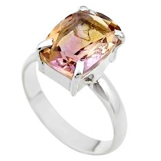925 silver 6.52cts solitaire natural purple ametrine ring size 10.5 t45132