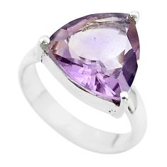 925 silver 6.36cts solitaire natural purple ametrine trillion ring size 6 t50232