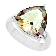 925 silver 6.39cts solitaire natural purple ametrine trillion ring size 7 t50186