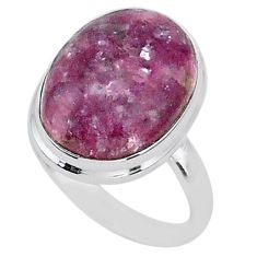 925 silver 15.97cts solitaire natural purple lepidolite oval ring size 10 t1505