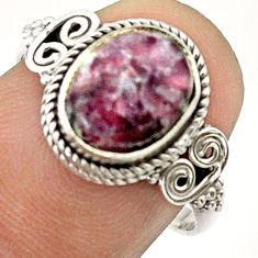 925 silver 4.38cts solitaire natural purple lepidolite oval ring size 7.5 t57463