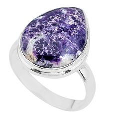 925 silver 16.70cts solitaire natural purple lepidolite pear ring size 11 t17796