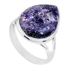 925 silver 14.63cts solitaire natural purple lepidolite pear ring size 11 t17800