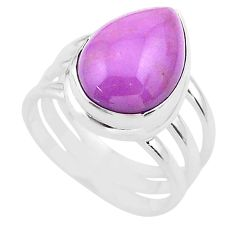 925 silver 6.80cts solitaire natural purple phosphosiderite ring size 6 t28099