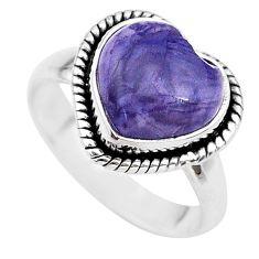 925 silver 4.58cts heart purple tiffany stone handmade ring size 6 t21749