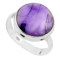 925 silver 10.65cts solitaire natural purple tiffany stone ring size 9 t15575