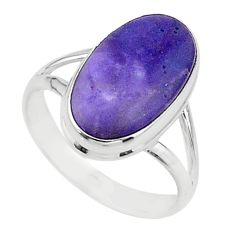 925 silver 7.97cts solitaire natural purple tiffany stone ring size 9 t15578
