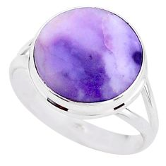 925 silver 7.64cts solitaire natural purple tiffany stone ring size 9.5 t15638