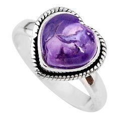 925 silver 5.11cts heart purple tiffany stone handmade ring size 9.5 t21759