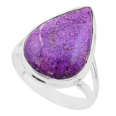 925 silver 14.72cts solitaire natural purpurite stichtite ring size 10 t17964