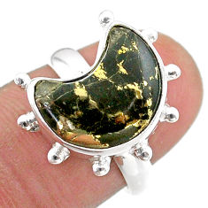 925 silver 5.36cts solitaire natural pyrite in magnetite moon ring size 7 t47856