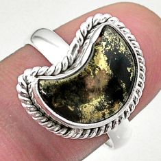 925 silver 5.82cts solitaire natural pyrite in magnetite moon ring size 8 t47694