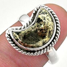925 silver 6.08cts solitaire natural pyrite in magnetite moon ring size 8 t47720