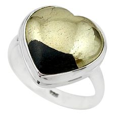 925 silver 10.60cts solitaire natural pyrite in magnetite ring size 8 t15600