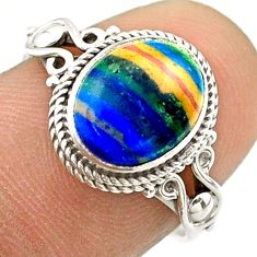 925 silver 3.89cts solitaire natural rainbow calsilica oval ring size 7 t57473