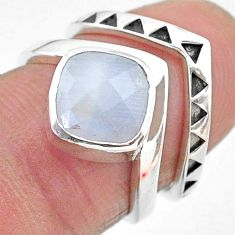 925 silver 2.92cts solitaire natural rainbow moonstone 2 rings size 5.5 t12065