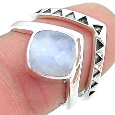 925 silver 3.02cts solitaire natural rainbow moonstone 2 rings size 6.5 t12076