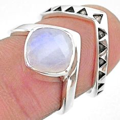 925 silver 3.02cts solitaire natural rainbow moonstone 2 rings size 5.5 t14833