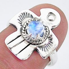 925 silver 0.81cts solitaire natural rainbow moonstone bird ring size 6 t6378