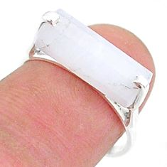 925 silver 4.71cts solitaire natural rainbow moonstone fancy ring size 7 t36217