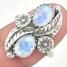925 silver 4.38cts solitaire natural rainbow moonstone flower ring size 7 t25280