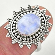925 silver 4.46cts solitaire natural rainbow moonstone flower ring size 7 t46157