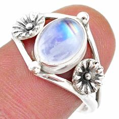 925 silver 3.09cts solitaire natural rainbow moonstone flower ring size 8 t25138
